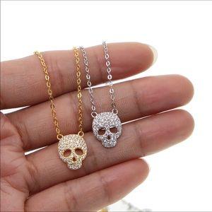 18k GF pave skull necklace